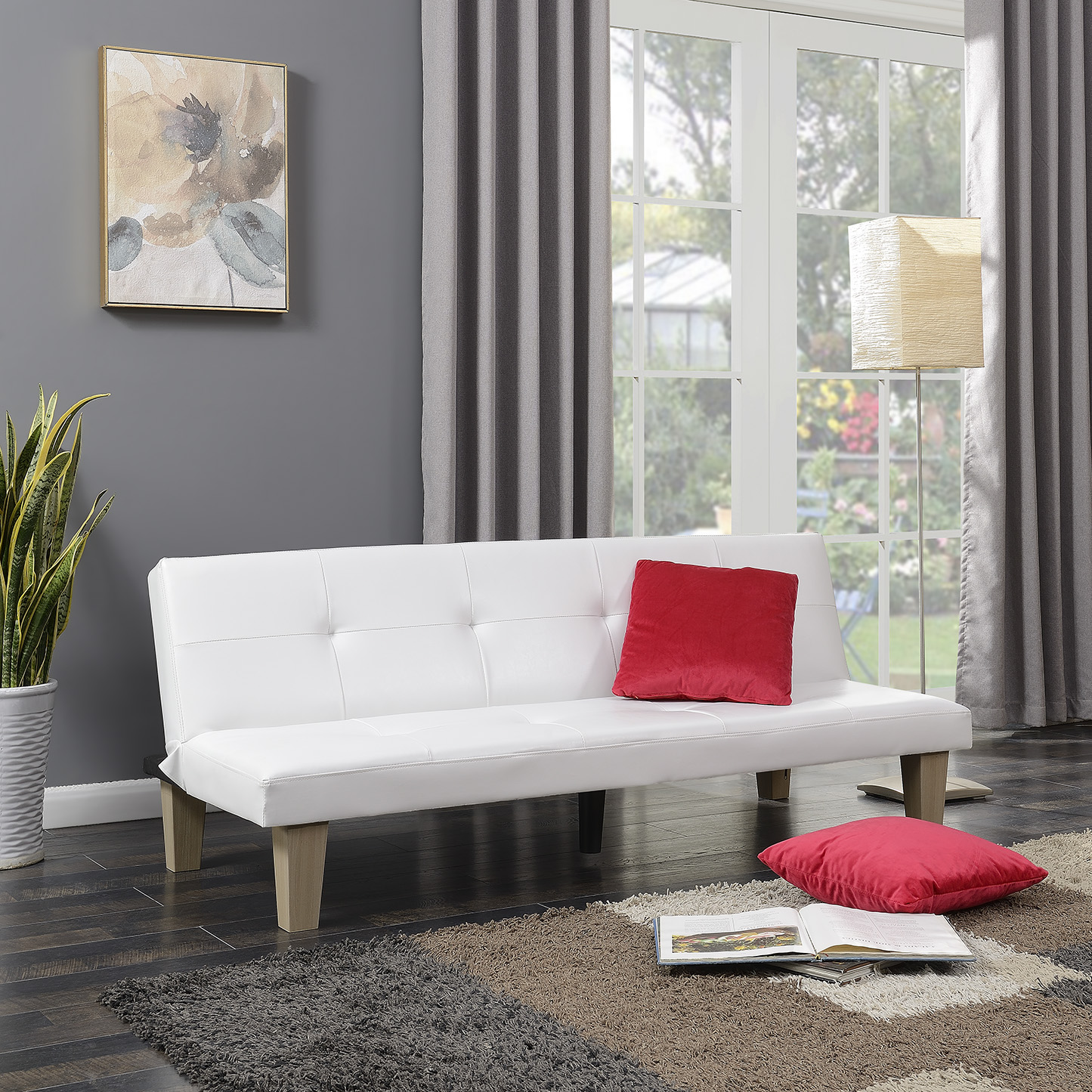 Belleze Convertible Futon Folding Sofa Bed Couch Adjustable Recline Lounger w/ (2) Pillow, White