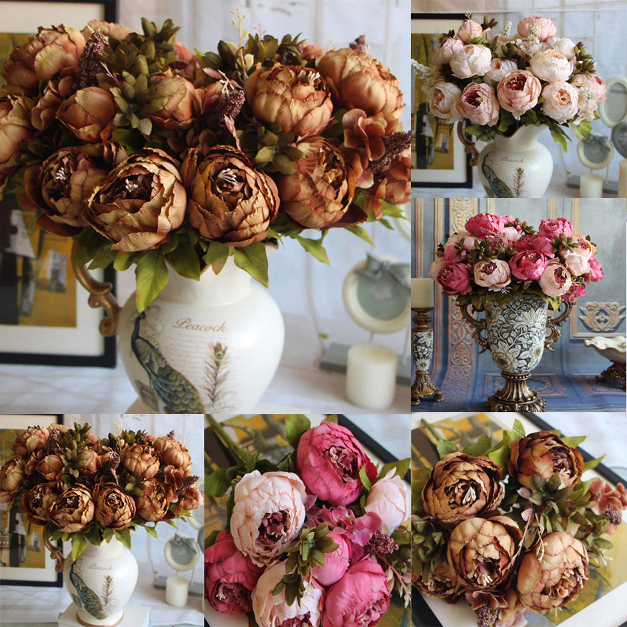 CUH Silk Flower peony Artificial Arrangements Silk Bouquet for Bedding Wedding Office Living Room Meeting Room Garden Floral