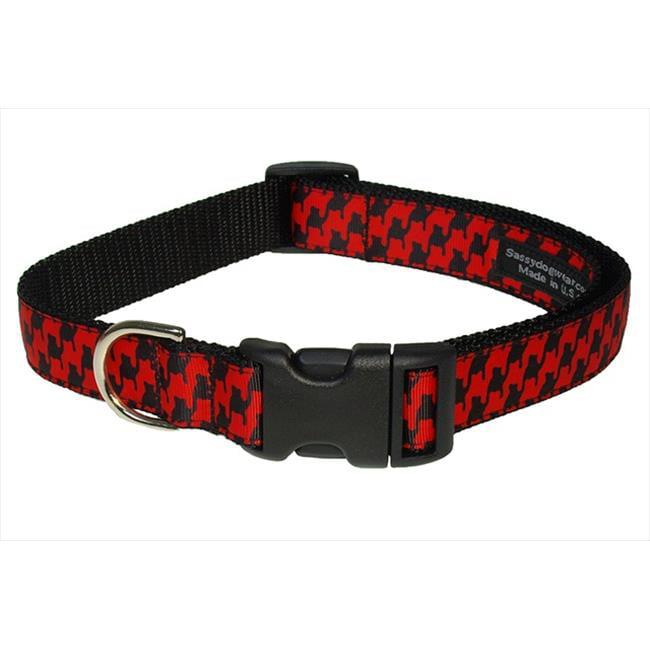 Sassy Dog Wear HERRINGBONE-POPPY-BLK.3-C Houndstooth Dog Collar, Poppy & Black - Medium