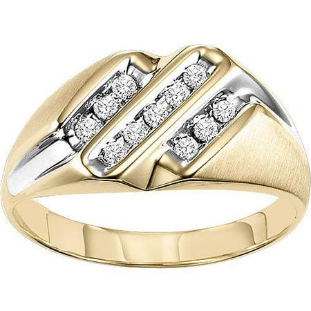 f622c31278c78 Men s 1 4 Carat T.W. Diamond 10kt Yellow gold Ring - Walmart.com
