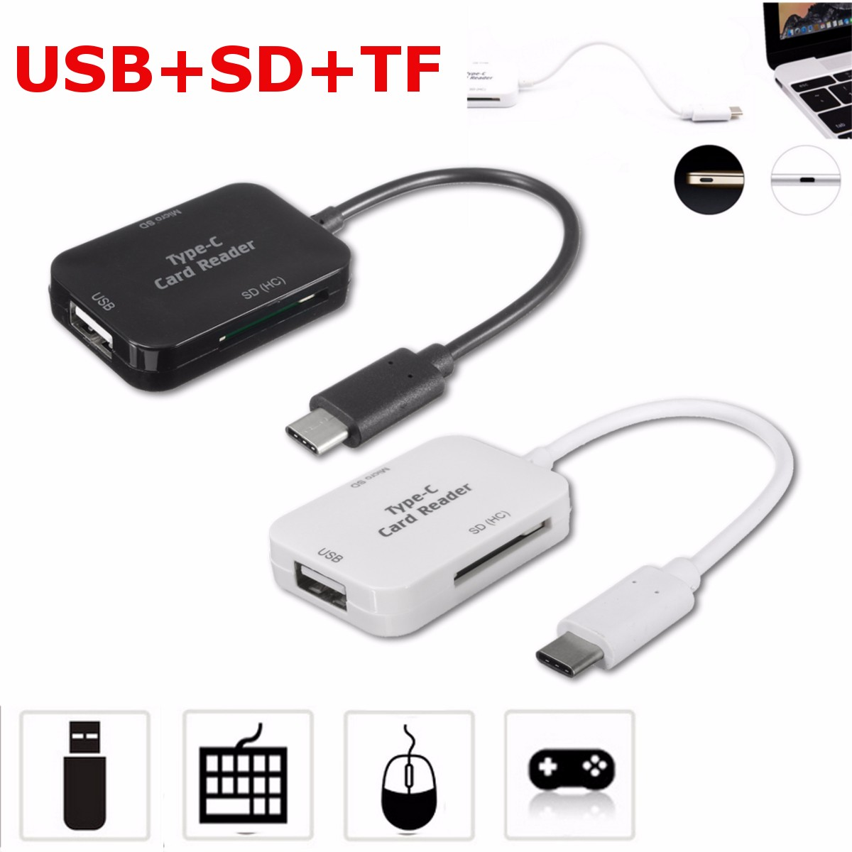 USB 3.1 Type C to USB 2.0 Expansion HUB SD TF Card Reader OTG Adapter Converter