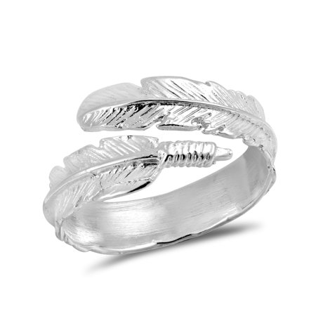 Spiritual Embrace Feather Wrap .925 Sterling Silver Ring-6 ()