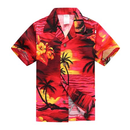 Boy Hawaiian Aloha Luau Shirt Only in Red Sunset 10 Year Old