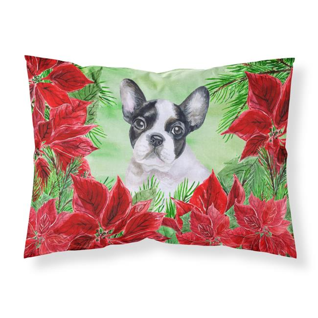 Carolines Treasures CK1358PILLOWCASE French Bulldog Black & White Poinsettas Fabric Standard Pillowcase - image 1 de 1