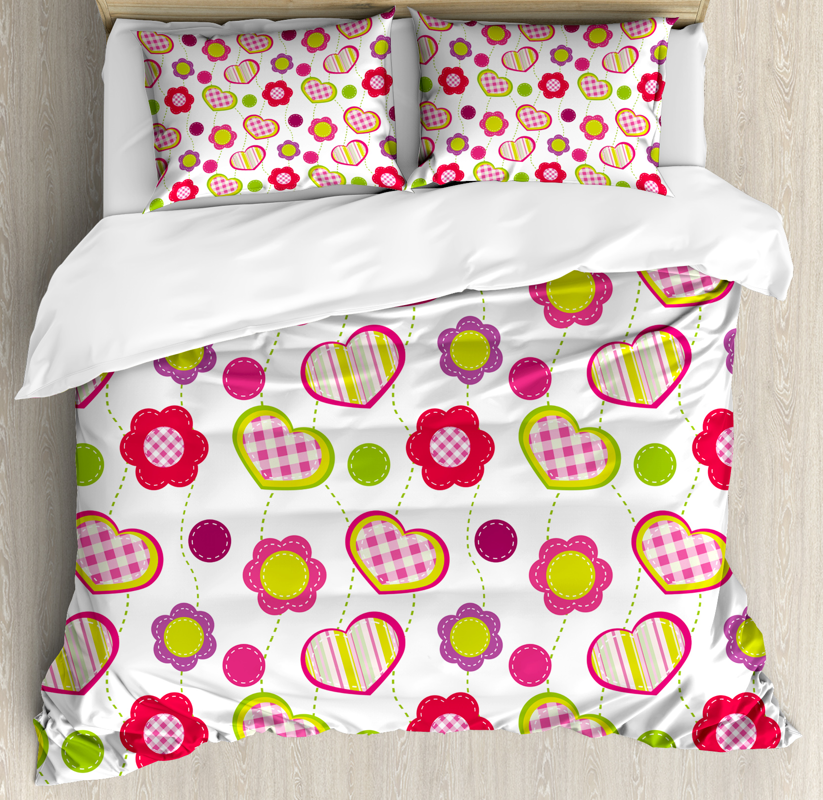 Kids Duvet Cover Set, Patchwork Inspired Design Colorful Patterned Flowers Hearts and Dots Retro Girlish, Decorative Bedding Set with Pillow Shams, Multicolor, by Ambesonne