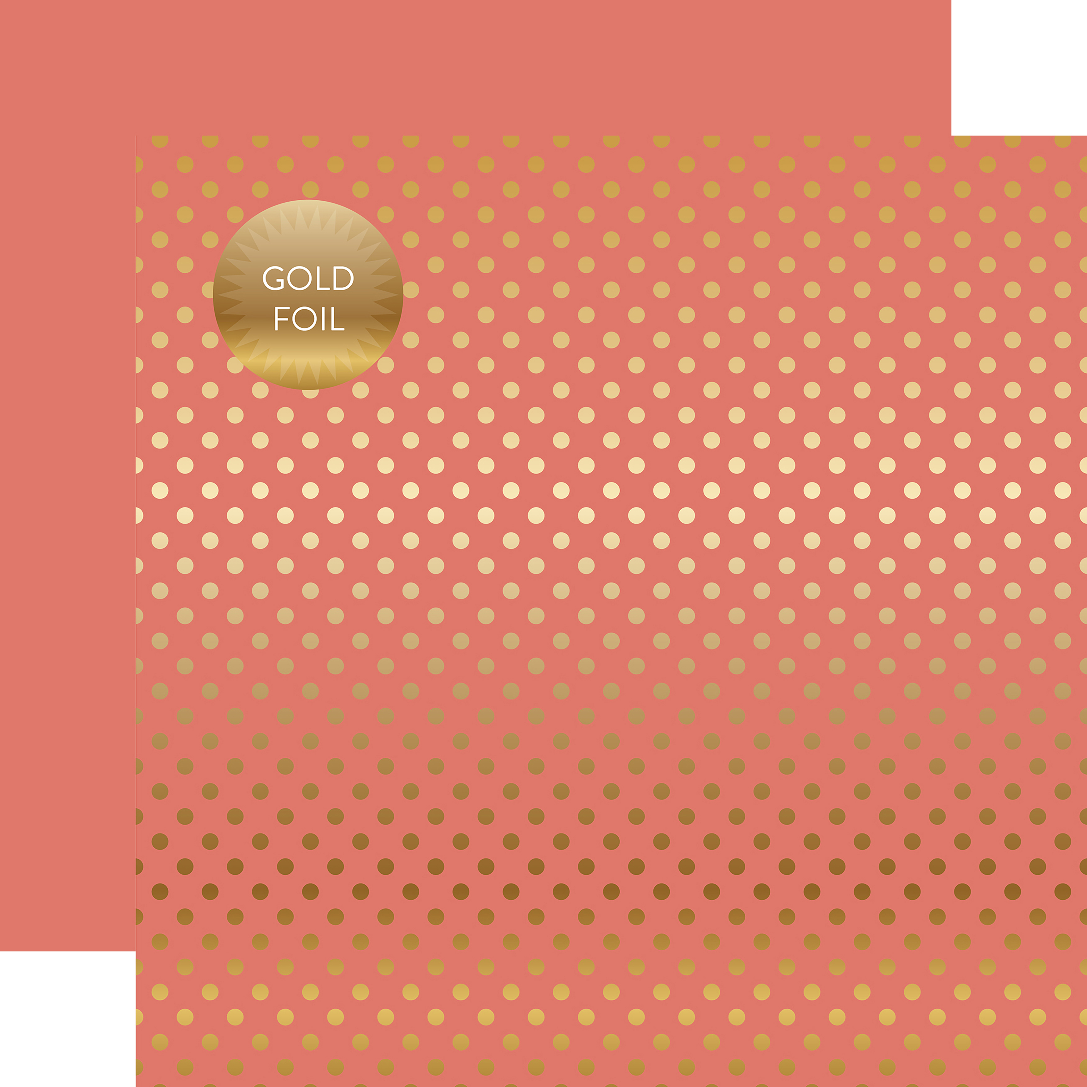"""Echo Park Foiled Dot/Stripe Double-Sided Cardstock 12""""X12""""-Peony Dot W/Gold Foil"""