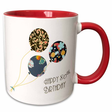 3dRose Happy 80th Birthday - Modern stylish floral Balloons. Elegant black brown blue 80 year old Bday - Two Tone Red Mug, 15-ounce