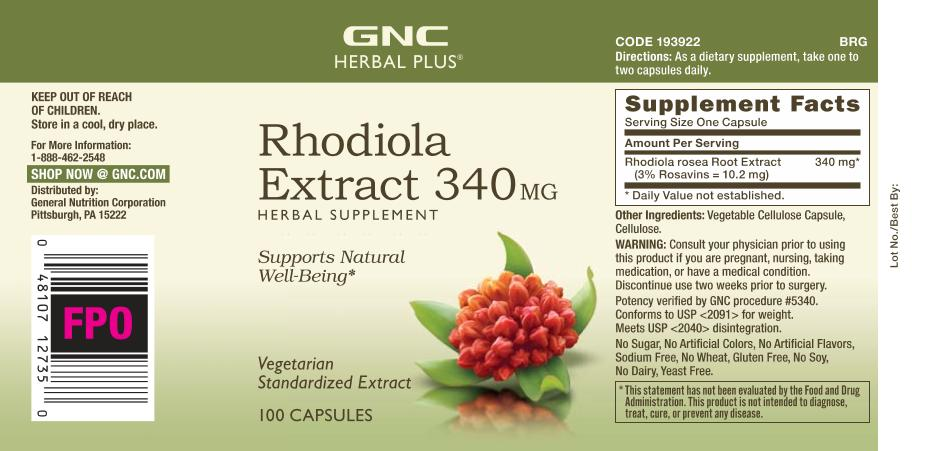 Gnc Herbal Plus Rhodiola Extract 340 Mg 100 Capsules Walmart
