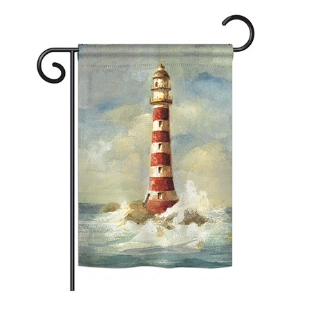 """Breeze Decor - Lighthouse by the Sea Coastal - Everyday Nautical Impressions Decorative Vertical Garden Flag 13"""" x 18.5"""" Printed In USA"""