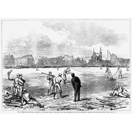 Baseball England 1874 Nmatch Between The Boston Red Stockings Visiting From America And The Athletics At PrinceS Ground Brompton England Wood Engraving From An American Newspaper Of 1874 Rolled