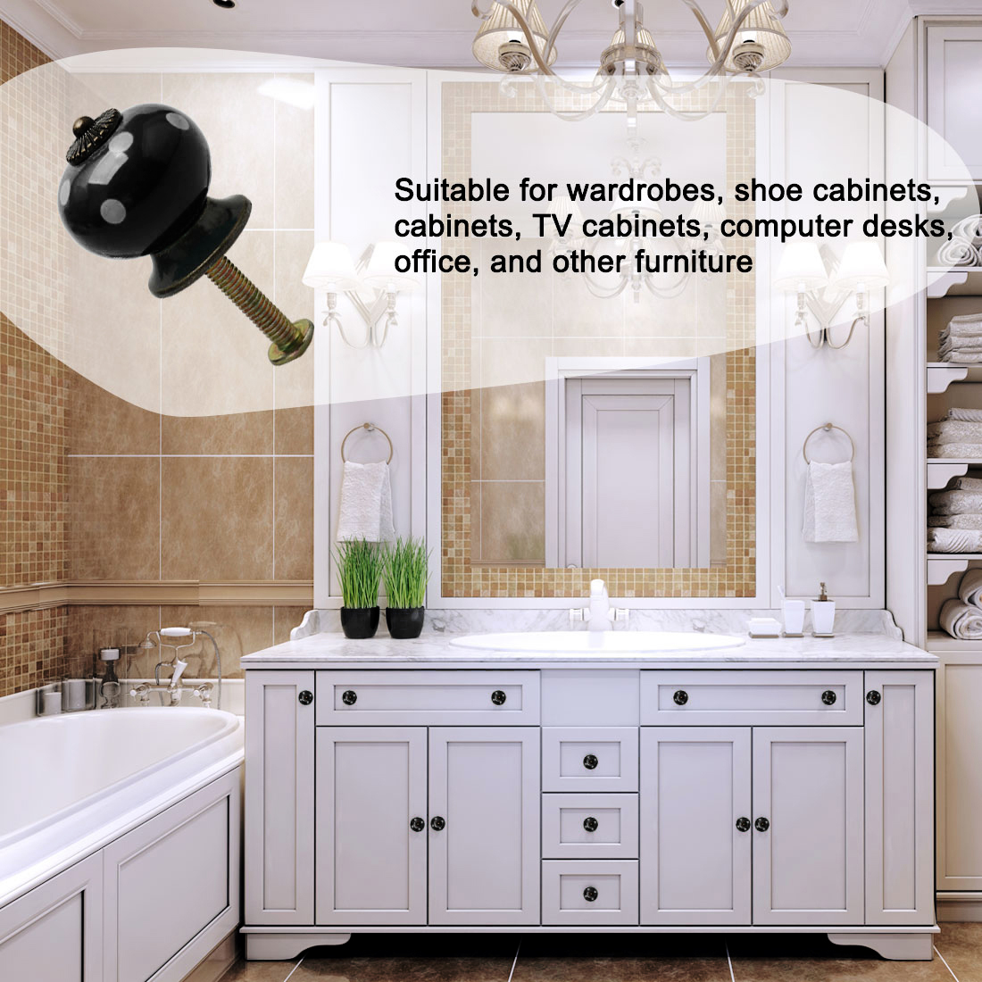 Ceramic Vintage Knob Pull Handle Dresser Cupboard Cabinet Accessories 8pcs Black - image 5 of 7