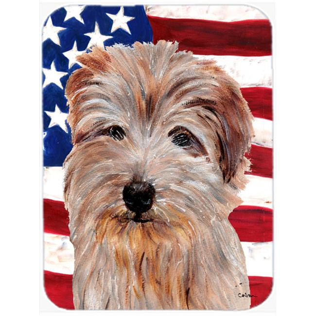 Norfolk Terrier With American Flag Usa Mouse Pad, Hot Pad Or Trivet, 7.75 x 9.25 In.