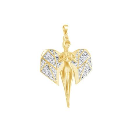 1/2 Carat Round Shape White Natural Diamond Hip Hop Praying Angel Pendant 10k Solid Yellow Gold (0.50 Cttw)