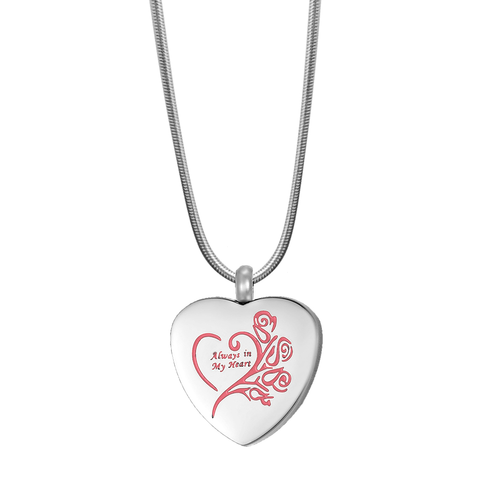 Keepsake Pink Heart Cremation Pendant Urn for Ashes Memorial Jewelry Necklace