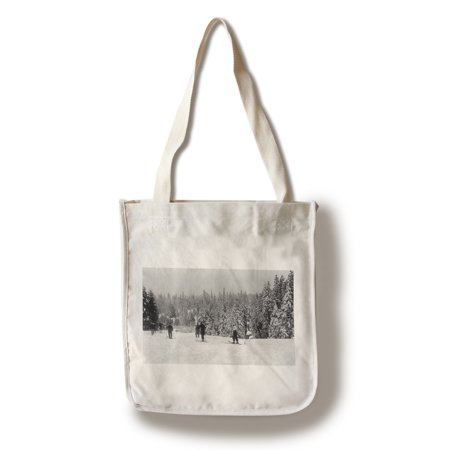 Long Barn, California - Wintertime Skiing at Longbarn Lodge (100% Cotton Tote Bag - Reusable)