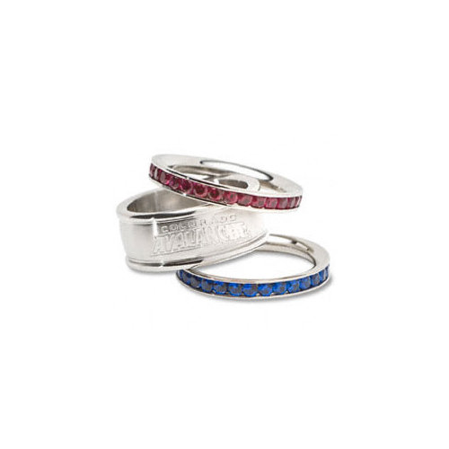 NHL - Colorado Avalanche Logo Crystal Stacked Ring Set