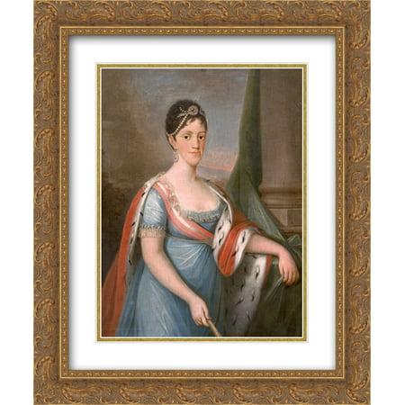 Domingos Sequeira 2x Matted 20x24 Gold Ornate Framed Art Print 'Retrato de D. Carlota Joaquina, Rainha de Portugal'
