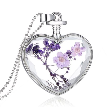 Women's Fashion Heart Glass Bottle Dried Flower Pendant Necklace Jewerly (Teardrop Glass Flower Pendant)