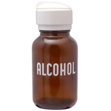 Menda Amber Glass Alcohol Dispensing Bottle, Round Glass 8 - Menda Alcohol Bottle