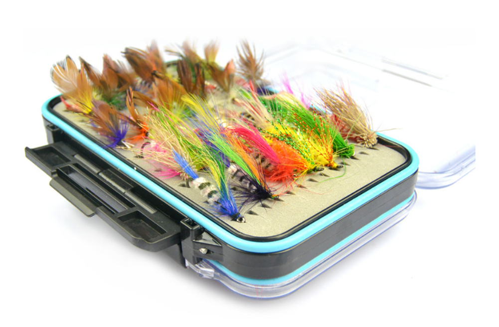 Click here to buy Fly Fishing Flies Kit- 64pcs Handmade Fly Fishing Lures- Dry Fly, Wet Fly, Nymph and Streamer Fly Lure Assotment +....