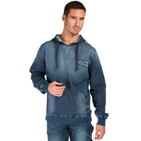 Level 7 Men's Pullover Hoodie Sweatshirt Artisan Washed Knit Denim Side Rib Insert ()