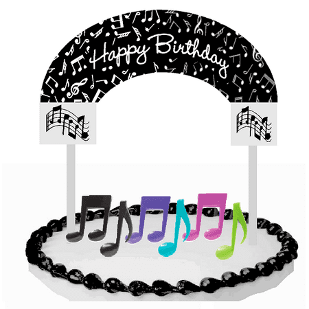 Music Notes Happy Birhtday Cake Decoration Banner Cake Topper - Music Note Decorations