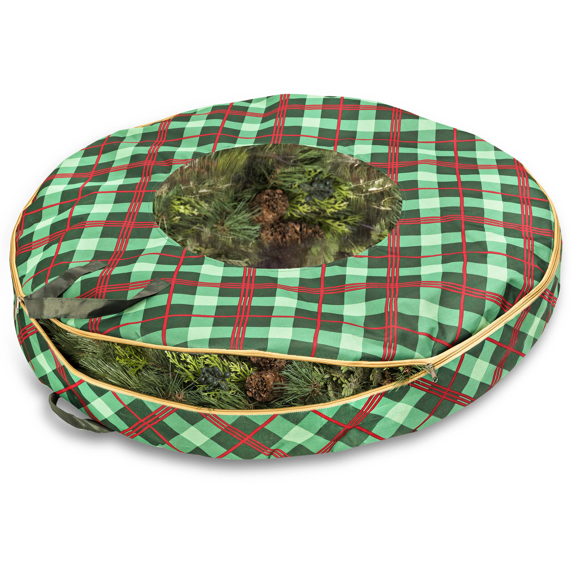 "Honey Can Do Limited Edition Plaid 36"" Wreath Storage"