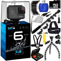 GoPro HERO6 Black 18PC Accessory Kit - Includes 32GB microSD Card + High Speed Memory Card Reader + Heavy Duty Monopod Selfie Stick + Micro HDMI Cable + Flexible Gripster Tripod + MORE