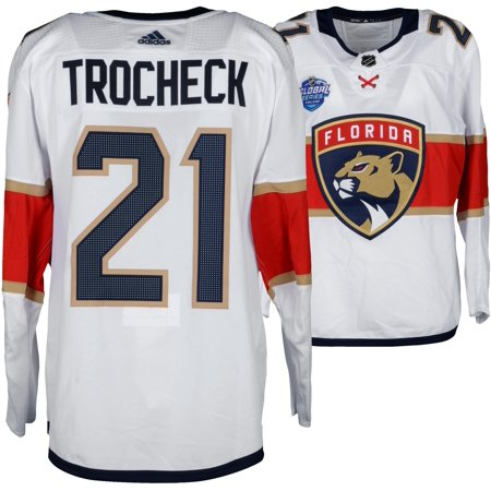 Vincent Trocheck Florida Panthers Game-Used  21 White Jersey from the 2018  NHL Global 39c4f1874
