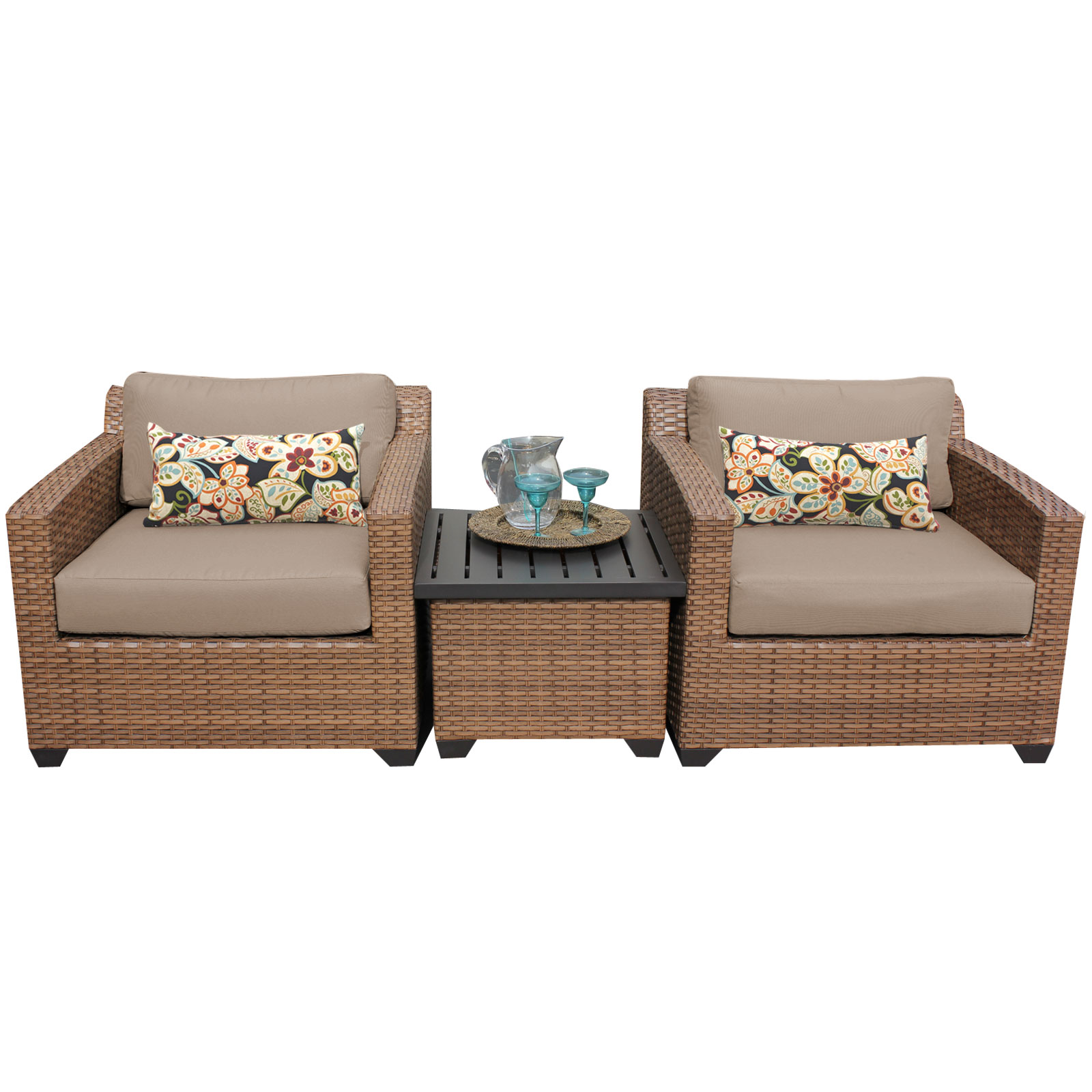 TK Classics Tuscan 3 Piece Outdoor Wicker Patio Furniture...