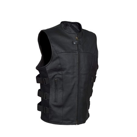 Men's SWAT motorcycle Leather vest with two concealed gun