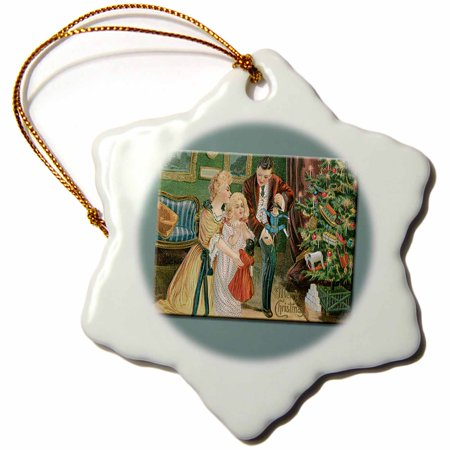 3dRose Vintage Christmas Card Family On Christmas Morning with Presents under the Tree - Snowflake Ornament,
