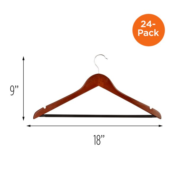 Honey Can Do Non-Slip Cherry Wooden Suit Hangers, 24-Count