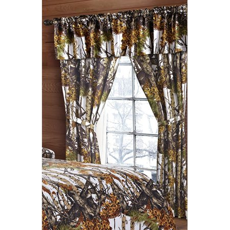 - The Woods White Camouflage 5pc Curtain Set by Regal Comfort For Hunters Cabin or Rustic Lodge Teens Boys and Girls (Curtain , White)