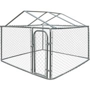 ALEKO Dog Kennel DIY Chain Link Box Kennel With Roof Frame