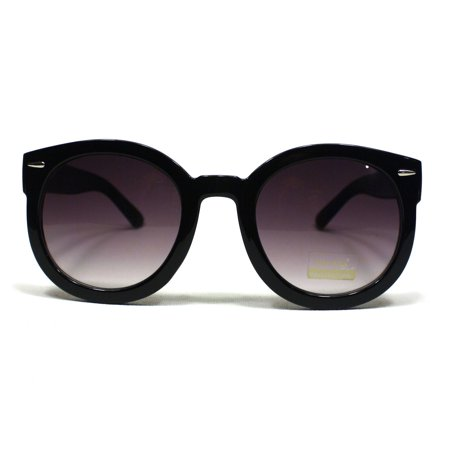 Thick Plastic Frame Round Horned Sunglasses for Women - Black for $<!---->