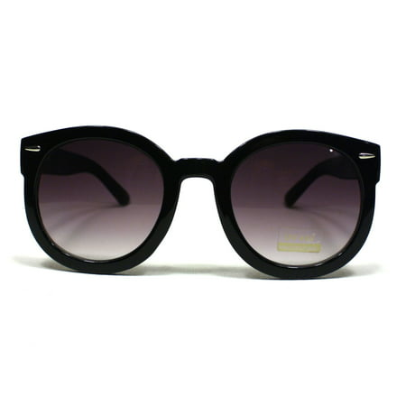 Thick Plastic Frame Round Horned Sunglasses for Women - Black
