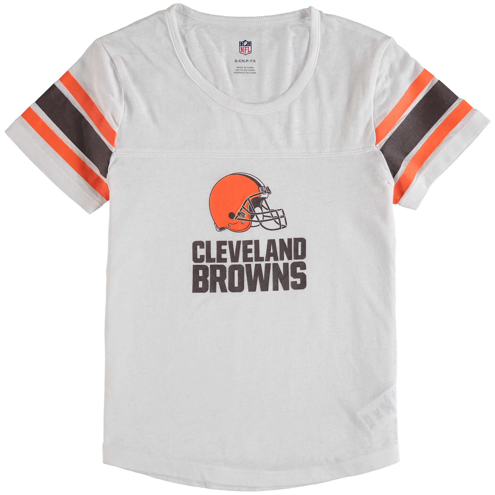 Cleveland Browns Girls Youth Team Pride Burnout Short Sleeve T-Shirt - White