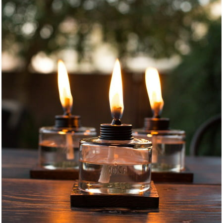 Outdoor Table Top Torch - TIKI® Brand 4-Inch Mixed Material Votive Table Torch Brown, Clear 3-pack