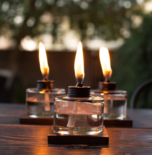 TIKI® Brand 4-Inch Mixed Material Votive Table Torch Brown, Clear 3-pack