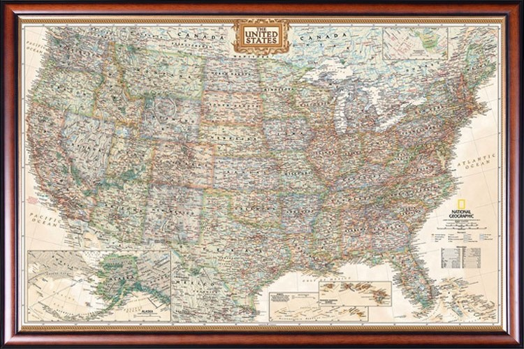 USA Map for Kids Frame Push Pin Tracking Map or Wall Map Framed map on foam core Size: 24x18 inch map Includes 100 map pins