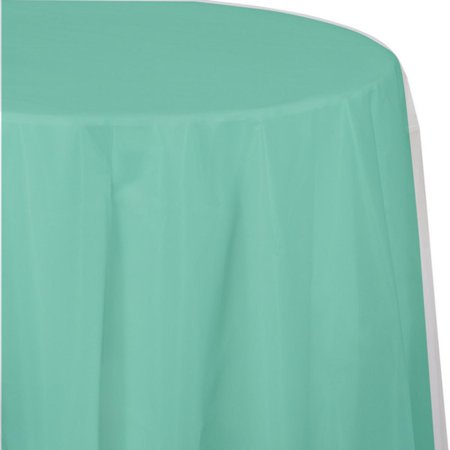 Club Pack of 12 Fresh Mint Green Premium Heavy-Duty Plastic Octy Round Tablecloth 82
