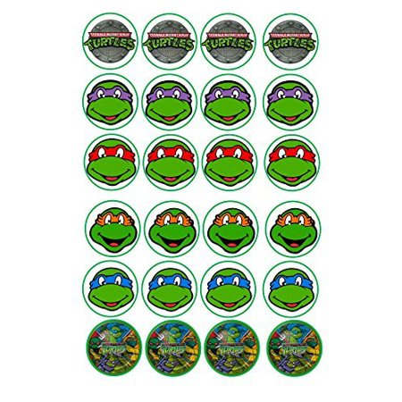 24 TMNT Teenage Mutant ninja Turtles mixed images Cake Toppers 4cm On wafer rice paper by Print4you (Ninja Turtle Cake Kit)