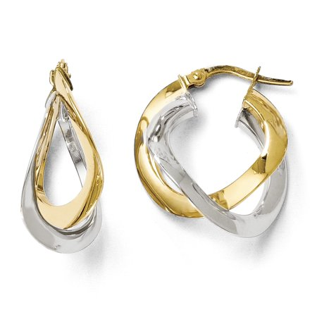 Leslie's 14k Two-tone Polished Twisted Double Hoop Earrings LE411 - image 1 of 1