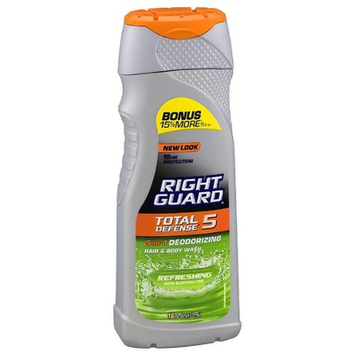 Right Guard Xtreme Defense 5 Hair & Body Wash, Refreshing 16 oz (Pack of 2)