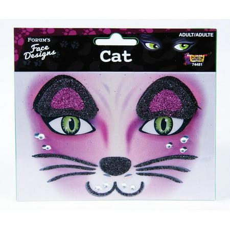 Kitty Cat Glitter Face Designs - Halloween Cat Face Designs