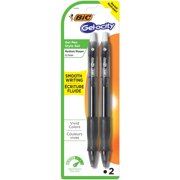 BIC Gelocity Original Retractable Gel Pen, Medium Point (0.7 mm), Black, 2-Count