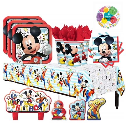 Deluxe Birthday Care Package - Mickey Mouse Deluxe Birthday Party Kit for 16 Guests