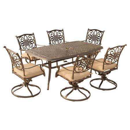 Aluminum 7 Piece Patio - Hanover Traditions Aluminum 7 Piece Rectangular Patio Dining Set with Swivel Chair