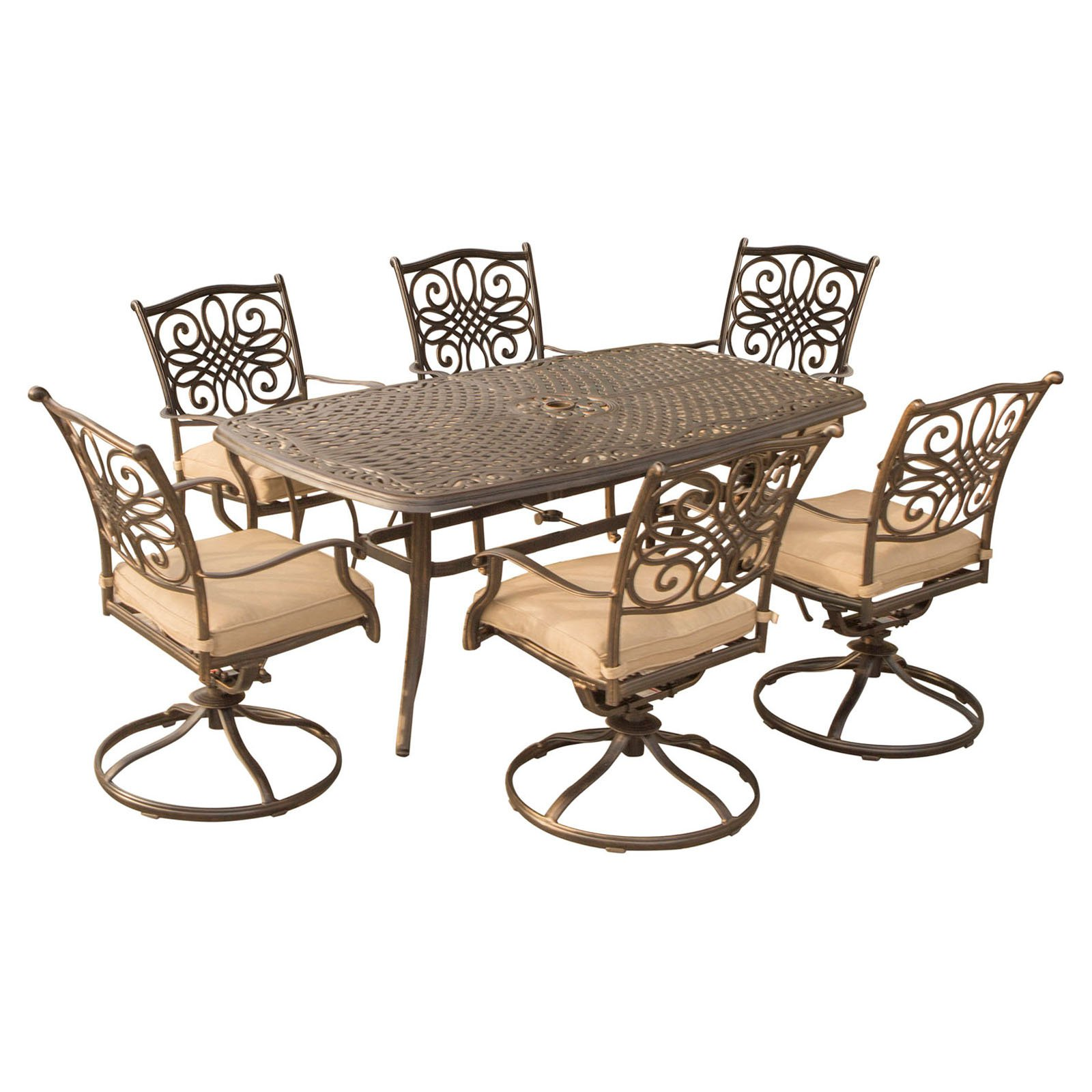 Hanover Traditions Aluminum 7 Piece Rectangular Patio Dining Set with Swivel Chair